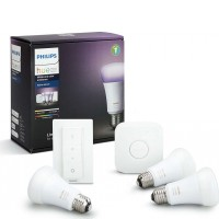Hue Starter Kit White and Color Ambiance 3xE27 A19 10W + Bridge + Dimm Switch 8718696728796